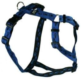 Feltmann-Kreuzgeschirr, Softband blau mit schwarzen Pfötchen