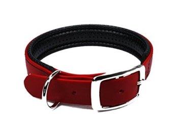 Gepolstertes Halsband mit Dornschnalle in Rot