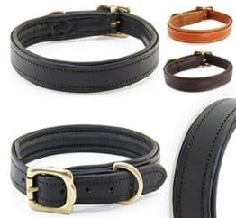 Hundehalsband aus weichem Vollrindleder, M 41-51 cm, Schwarz