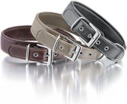 Knuffelwuff, weiches Lederhalsband 38-45cm, braun