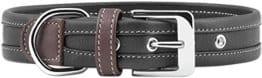 Knuffelwuff, weiches Lederhalsband, schwarz