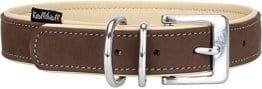 Knuffelwuff Weiches Nubuk Lederhalsband in Braun/Beige