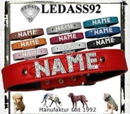 Rotes Hunde Lederhalsband mit Namen in Strass