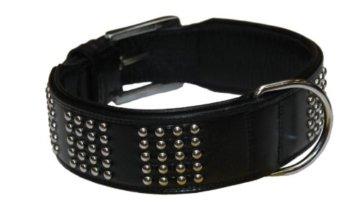 Schwarzes Leder Halsband mit Nieten